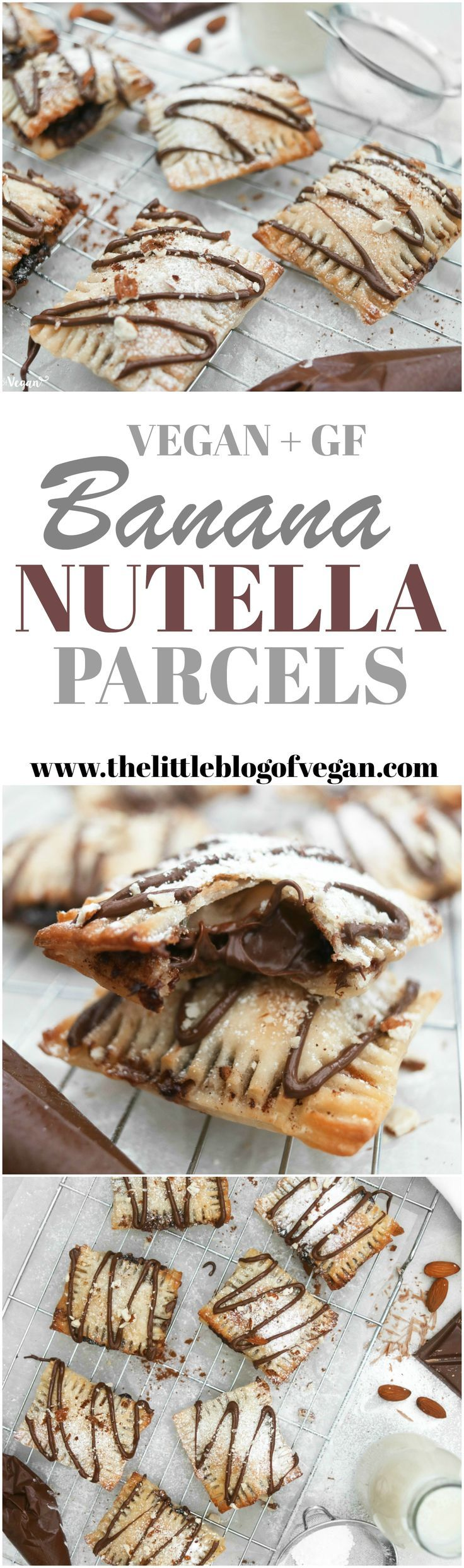 Vegan + gluten-free nutella and banana puff pastry parcels! Only 3 ingredients