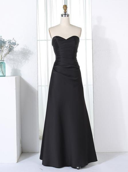 Black Bridesmaid Dresses Modest Satin Strapless Dress Long Lace Up Bd00294