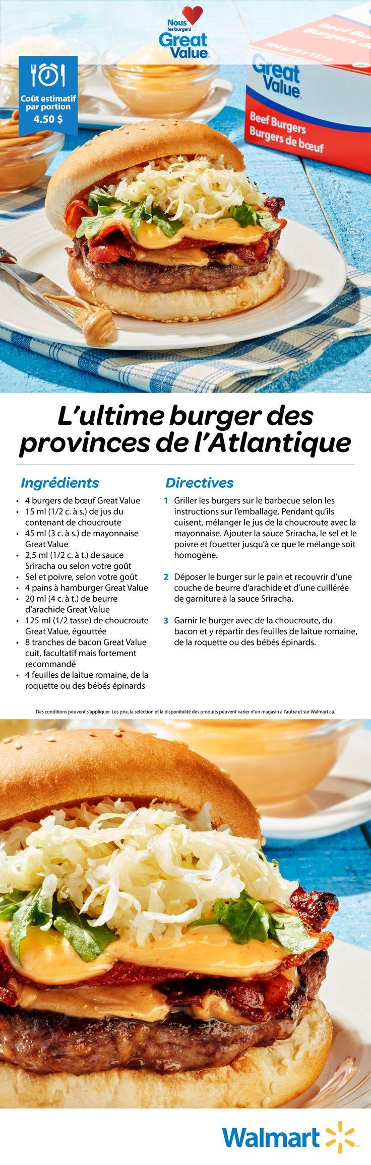 Épicé et sucré, notre burger des provinces de l'Atlantique combine les meilleures saveurs pour le burger contenues dans nos produits Great Value! #bbq #recettesdebbq #recettesdeburgers #hamburgers #bbqdanslacour #réceptionestivale #meilleursburgers #recettesestivales  #pausebifteck