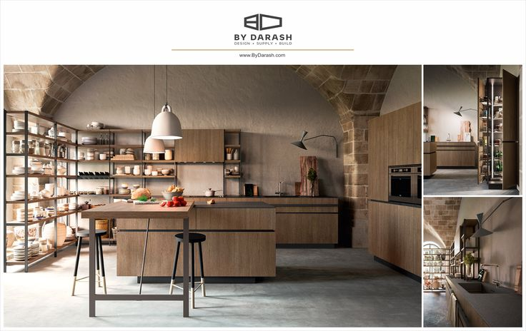 A modern kitchen design mixed with rustic soft toned wood shelving and cabinetry. Sold @bydarash