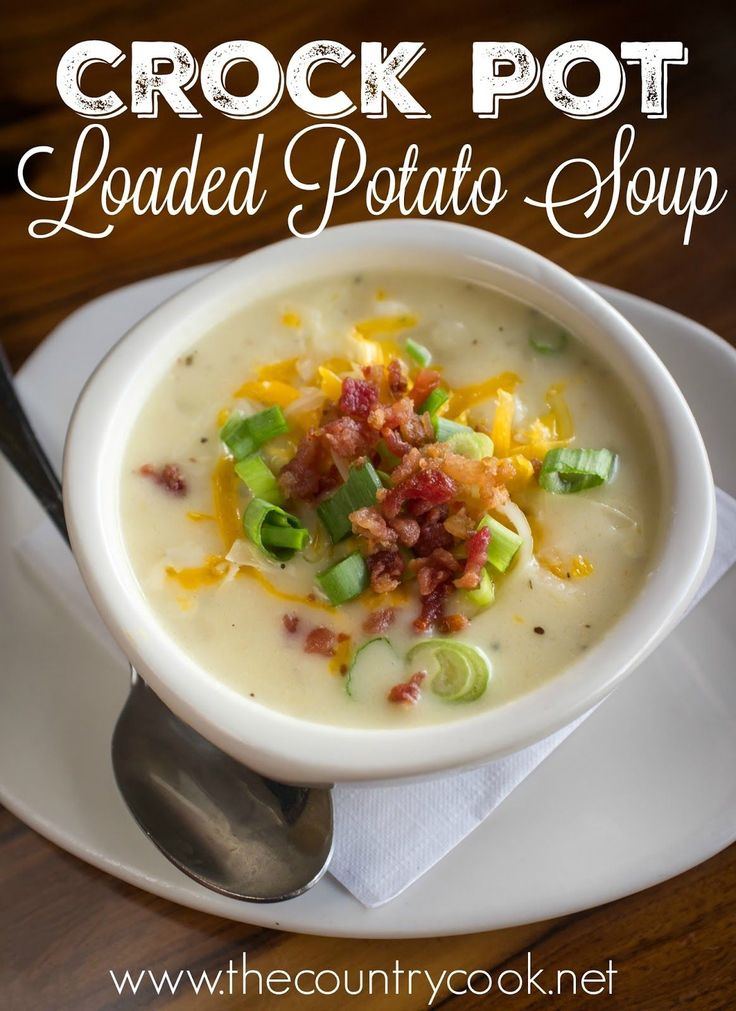 Crock Pot Loaded Baked Potato Soup is not only really simple to make but it gets better as it slowly cooks. Topped with cheese and bacon! So creamy!