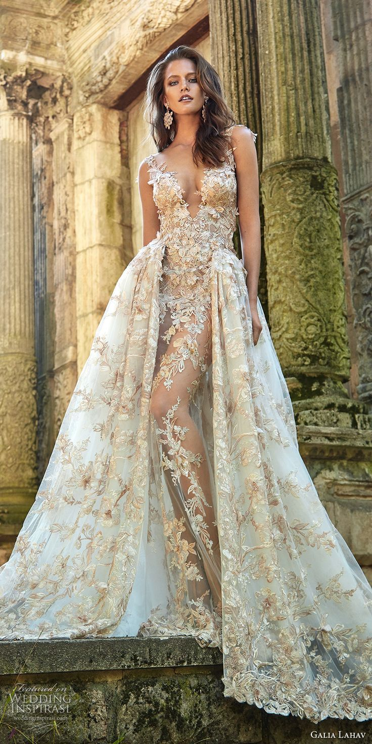 Galia Lahav fall 2017 bridal sleeveless deep plunging v neck full embellishment sexy princess ball gown a  line wedding dress overskirt illusion low back chapel train (lilyrose) mv #wedding #bridal #weddingdress