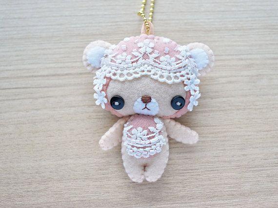 Lace Bear Felt Keychain -  cute accessories -  Kawaii - Spring Bear plush -
