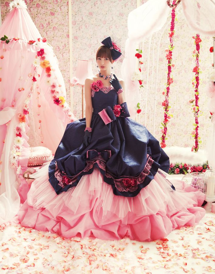 So loving this fun Navy and Pink wedding gown.   Japanese Love Mary Wedding Dresses