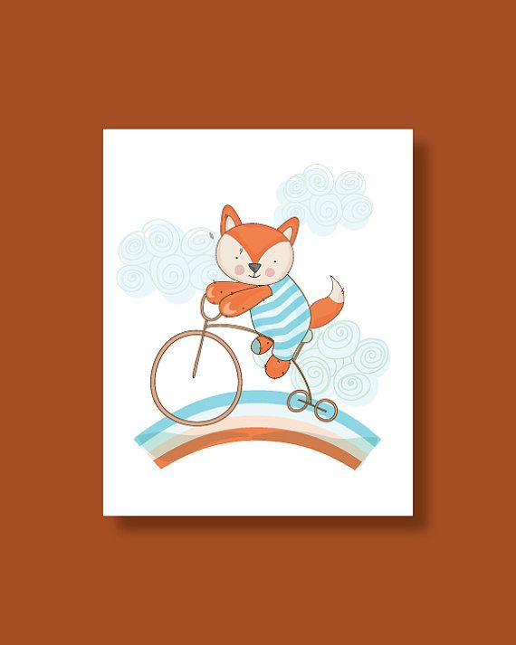 Fox Nursery Art Print  Baby Fox Ride on a by HappyLittleBeans