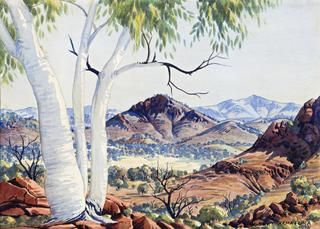 IN THE MACDONNELL RANGES, CENTRAL AUSTRALIA | ALBERT NAMATJIRA (1902 – 1959) Watercolour on paper