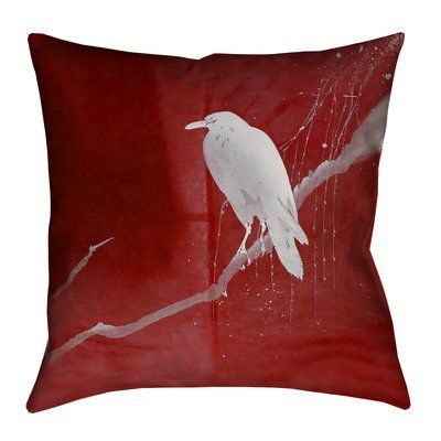 """Latitude Run Hansard Crow and Willow Double Sided Print Pillow Cover Size: 26"""" x 26"""", Color: Red/White"""
