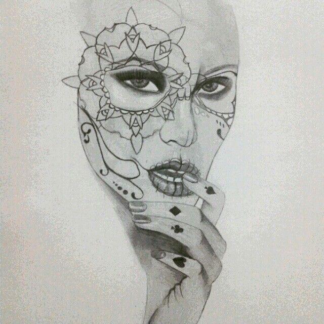 Sugar skull poker pencil