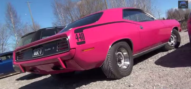 Loud & Sexy '70 Cuda 440 V8. Here is one of the legendary Plymouth cars from the muscle car era rocking one of those crazy colors typical for the old school muscle cars..