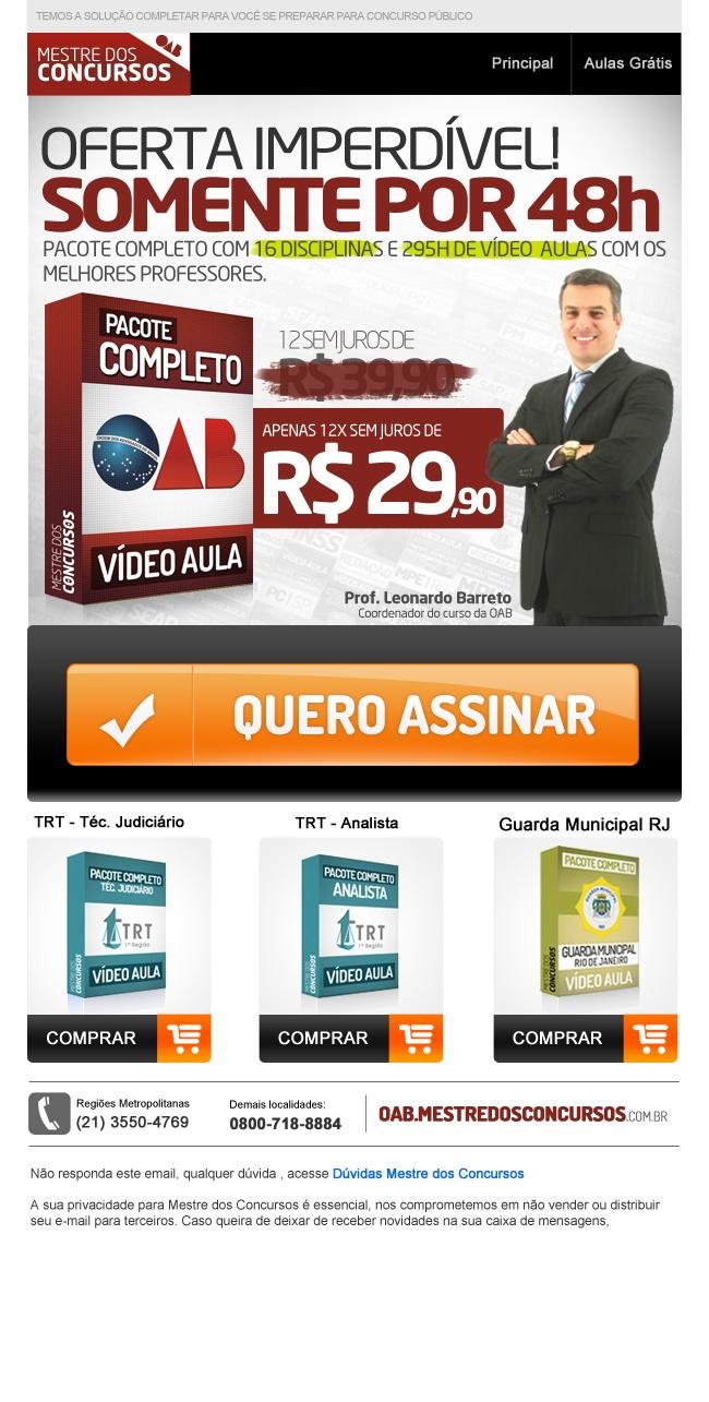 E-mail com oferta do Pacote complete preparatorio para Ordem dos Advogados do Brasil. Mestre dos Concursos