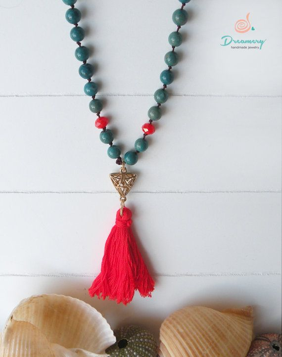 blue-green nephrite bead necklace by IoannaPrassou on Etsy