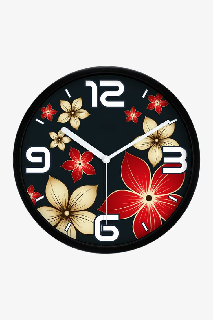 Fashion Art Wall Floral Clock In Black