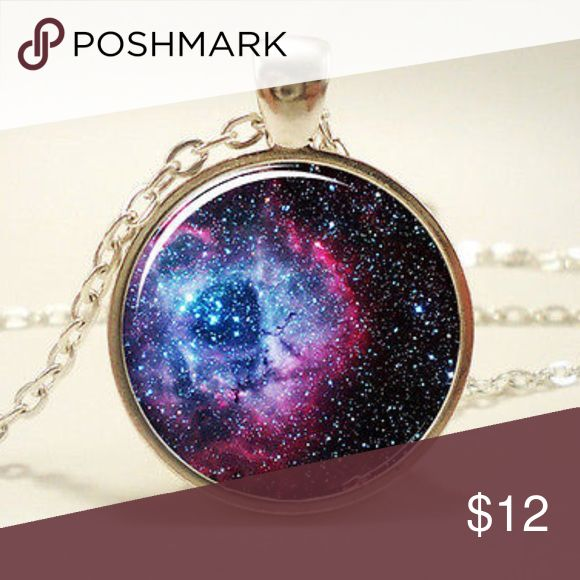 """Galaxy Cabachon Silver Pendant & Chain NEW Galaxy Cabachon Pendant set in Silver Tone and on an 18"""" Chain with a Lobster Claw Clasp. Bundle & Save On Shipping. Fashion For You Jewelry Necklaces"""