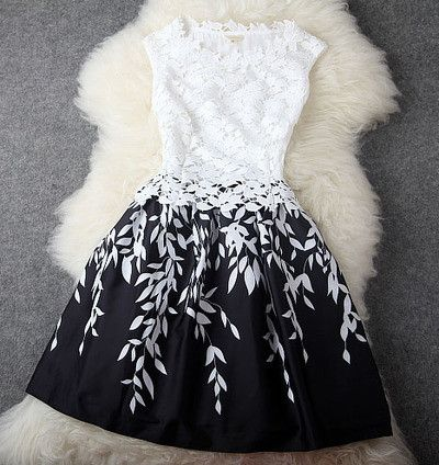 Embroidered Lace Dress In Black and White this is GORGEOUS!!