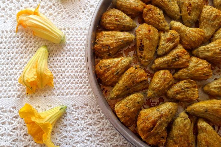 Stuffed zucchini flowers vegetarian recipe WWW.EFFIGEORGIA.COM.AU