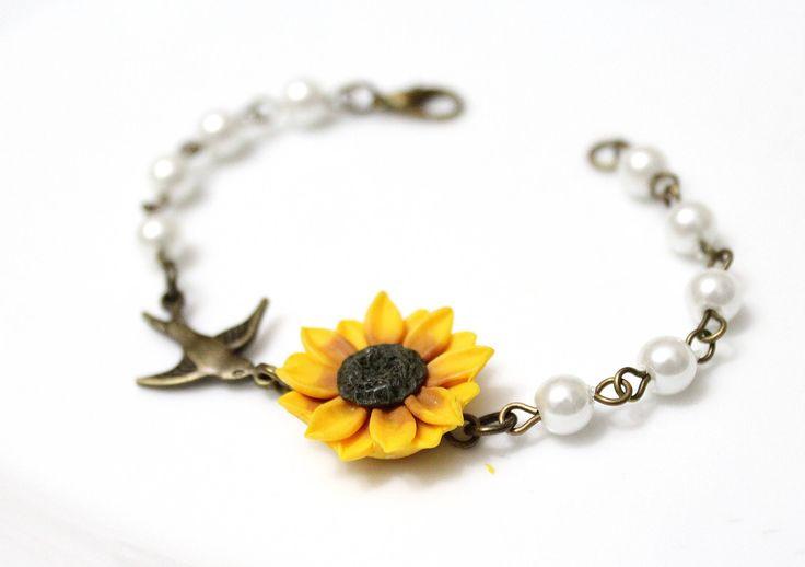 Yellow Sunflower and Flower Bird Bracelet, Sunflower Bracelet, Yellow Bridesmaid Jewelry, Bird Bracele, Sunflower Jewelry, Summer Jewelry by NikushJewelryArt on Etsy