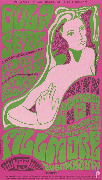 Fillmore Auditorium 11/11-13/66 Artist: Wes Wilson ~  Performers: Bola Sete ~  Country Joe & the Fish ~  Buffalo Springfield