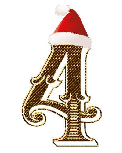CH.B *✿*  Numero dorado con gorrito de Papa Noel