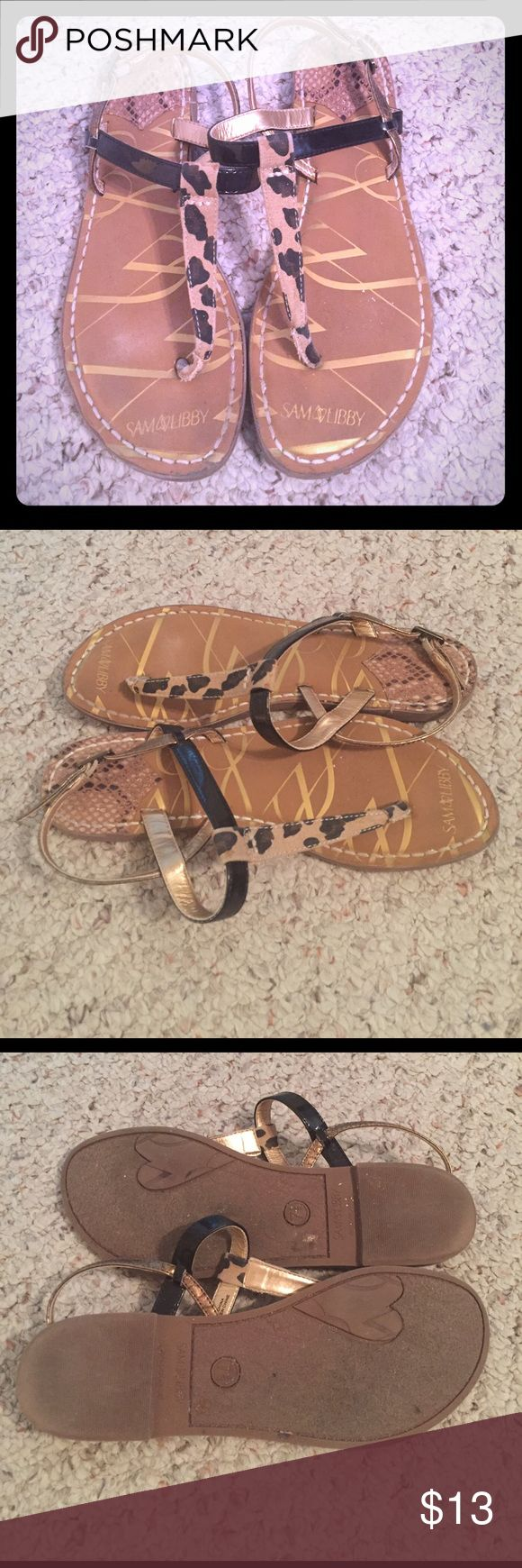 Cheetah Print Sandals Sam &a Libby Cheetah Print Sandals. Patent leather strap and gold/bronze strap. Snake print at the bed of the heels. Good condition. Size 7.5 Sam & Libby Shoes Sandals