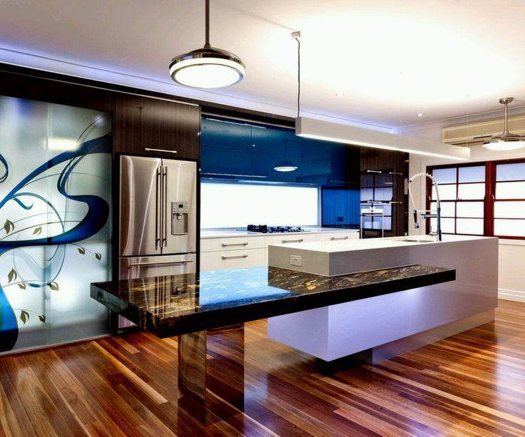 Interior:Stunning Ultra Modern Kitchen Design Interior With White Table  Plus Granite Breakfast Bar Also Pendant Lamps And Refrigerator And Wall  Blue Motif ... Part 89