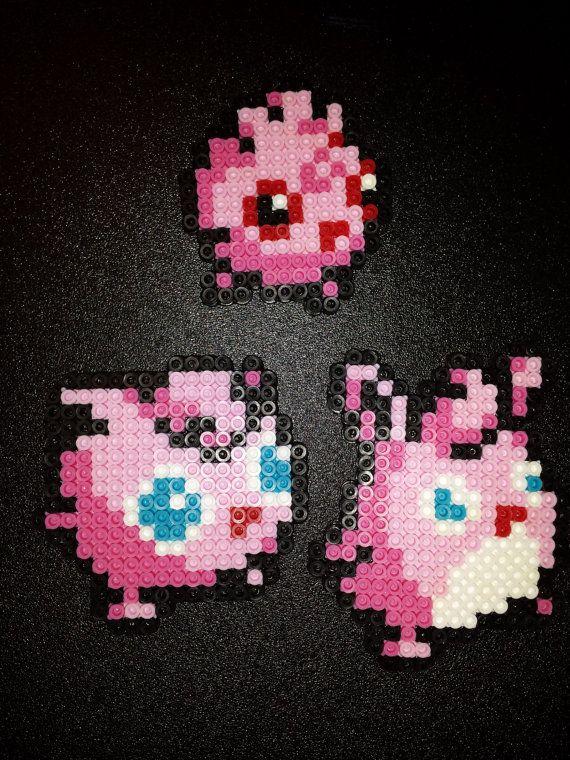 Perler Jigglypuff Evolution  Igglybuff Jigglypuff by 8bitcrafting