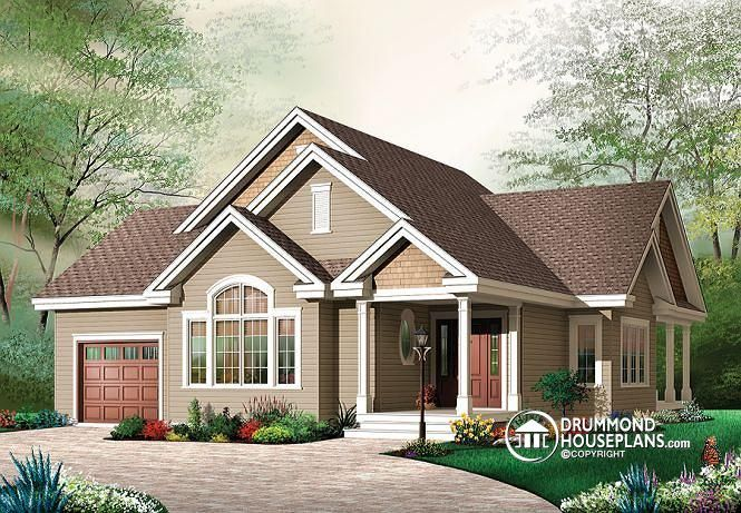 W3235 3 bedroom transitional style bungalow with for Cathedral ceiling home plans
