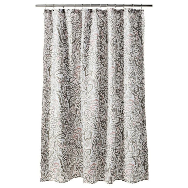 Threshold Paisley Shower Curtain Gray Coral Bathroom