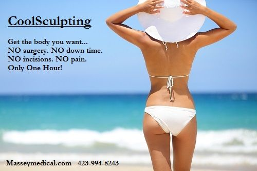 Freeze your problem areas away in 1 hour painlessly and PERMANENTLY.  NO down time, no needles, no surgery, and no anesthesia. Pricing for service varies on areas treated. Free consultations offered.  We will create a customized treatment plan for you.  Call 423-994-8243. Other services listed at Masseymedical.com