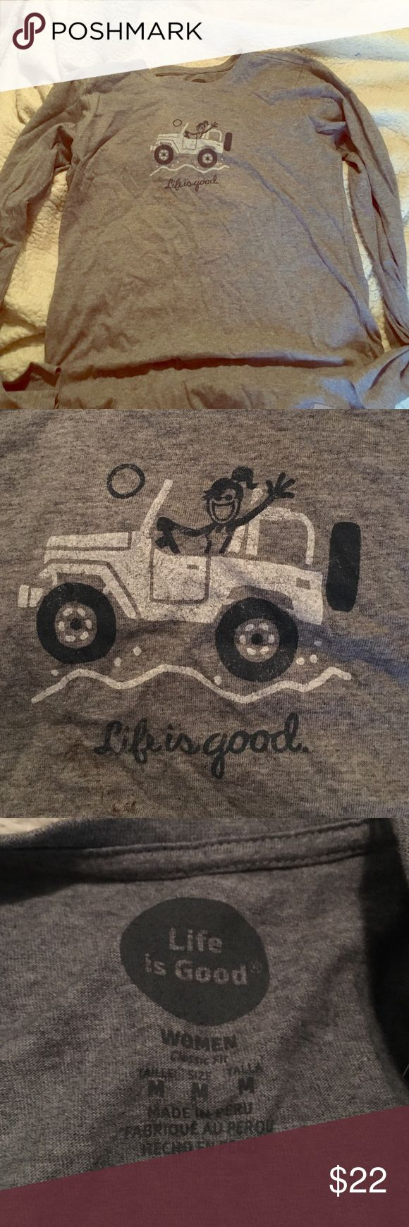 Life is good jeep shirt! Women's medium life is good long sleeve tshirt never been worn! Given as a gift and not the right size for me Life is Good Tops Tees - Long Sleeve