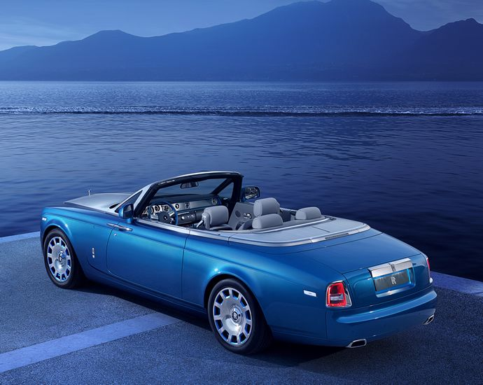 In electric blue the Rolls Royce special edition Phantom Drophead Coupe Waterspeed Collection is sure to dazzle you