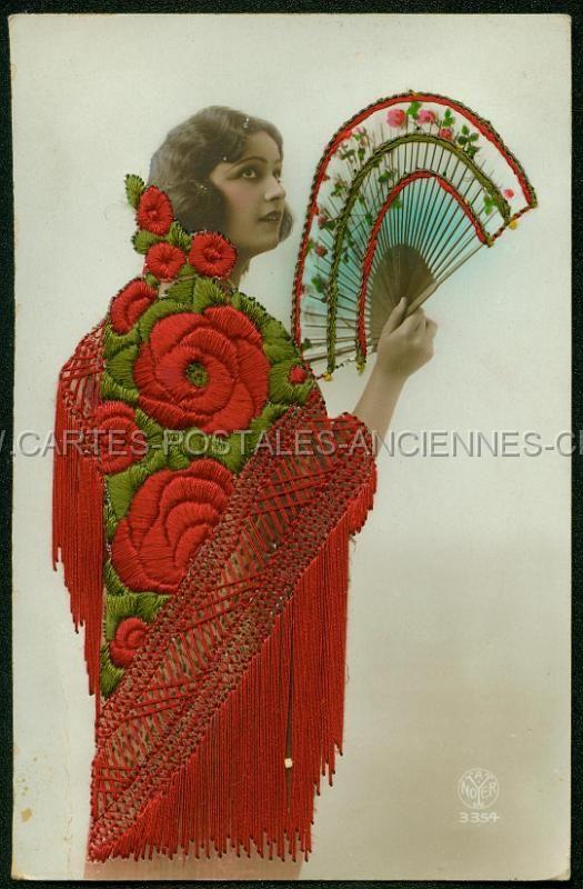 femme brodee art deco noyer carte postale ancienne cartes postales anciennes old postcards. Black Bedroom Furniture Sets. Home Design Ideas