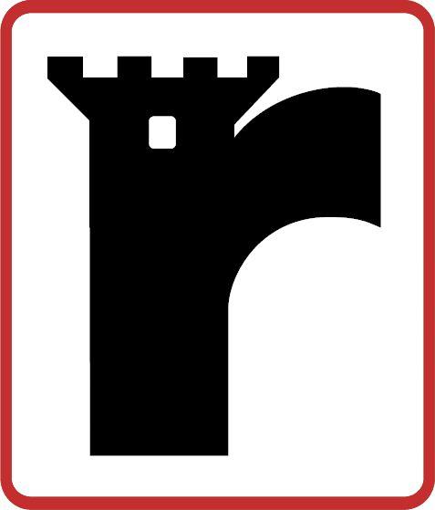 Québec Remparts Primary Logo (1970) - A black castle tower inside a red and white rounded rectangle.  Une tour noire de château à l'intérieur d'un rectangle arrondi rouge et blanc.
