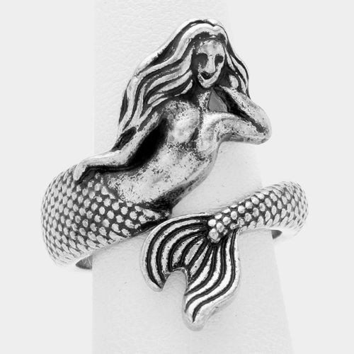 Shining Bee Trendy Mermaid Wrapped Metal Ring Silver Burnished