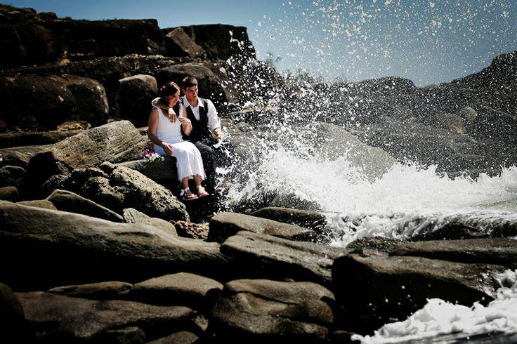 Bride & Groom + sea-spray, rocks