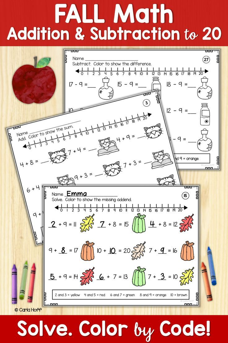 Help First And Second Grade Students Build Fluency With Addition Subtraction Facts To 20 These Worksh Addition And Subtraction Subtraction Facts Subtraction Math addition activities for second