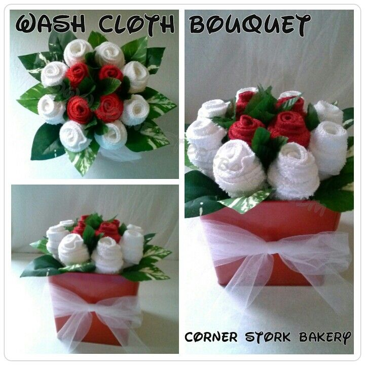 """Washcloth + Bouquet + gifts 1 dozen washcloth flower bouquet! Great gift for any occasion! """"like"""" us on Facebook! Order now on Etsy or  www.CornerStorkBakery.com Baby Shower+Gifts+Birthdays + washcloth + flowers"""