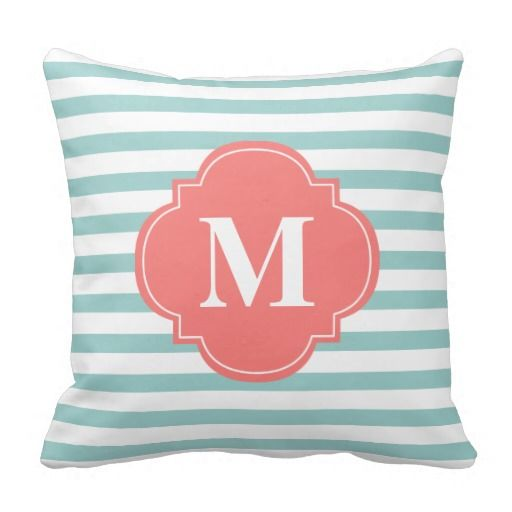 Mint and Coral Stripes Monogram