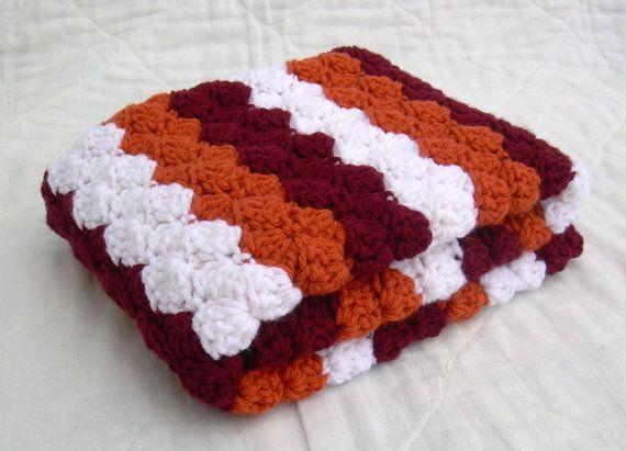 Crochet Baby Blanket, Baby Blanket, Crochet Virginia Tech Baby Blanket, Hokies, maroon, orange, and white VT afghan, travel size via Etsy