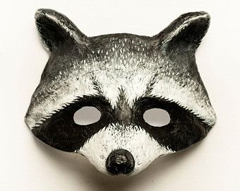Raccoon Mask Animal Mask Carnival Masquerade Woodland Fancy Dress Christmas Ball Party Mask Papier Mache Paper Mask Black and White
