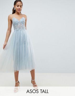 6e14829e0 ASOS DESIGN Tall premium lace cami top tulle midi dress | Celestial ...