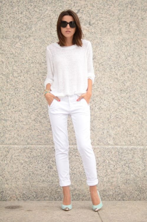 The mint shoes with this all white outfit