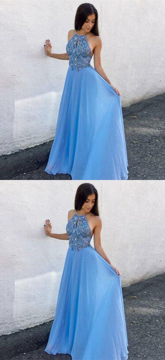 A-Line Round Neck Keyhole Blue Chiffon Prom Dress with Beading M1583