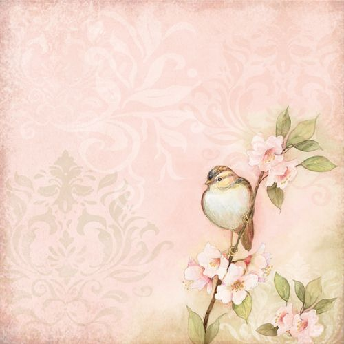 K and Company - Floral Collection - 12 x 12 Paper with Foil Accents - Bird on Pink at Scrapbook.com $1.69