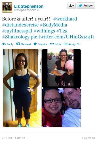 "Liz Stephenson (twitter.com/stephensonliz88) tweeted: "" Before & after! 1 year!!! #workhard #dietandexercise #BodyMedia #myfitnesspal #withings #T25 #Shakeology pic.twitter.com/UHmGs144fi "" Learn more: http://www.withings.com/en/pulse"