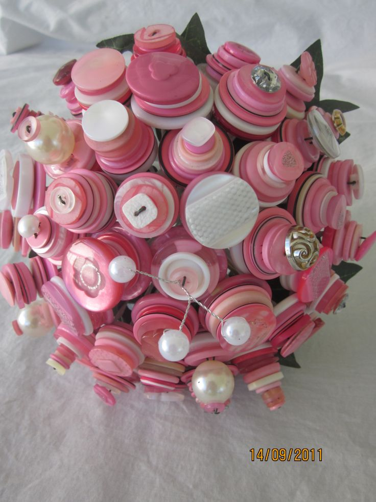 Pink and white with pearls and cutglass Bridesmaid button bouquet by over the top floristry