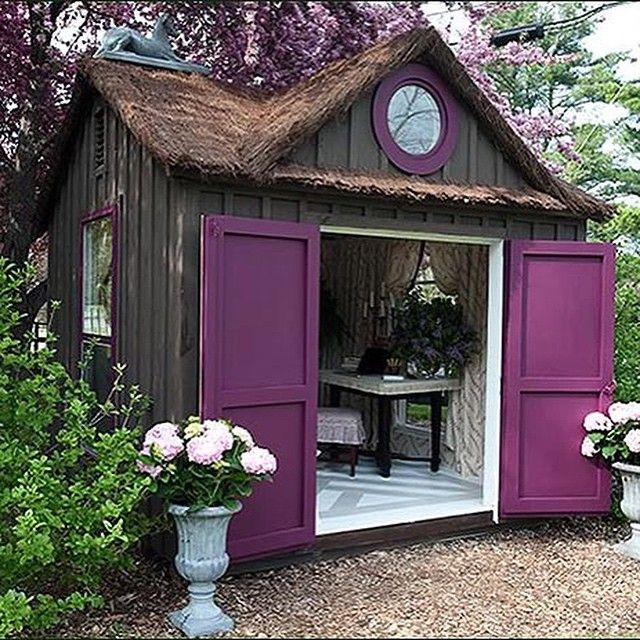 Apparently I've missed this trend. A She Shed. I want one right now.  Photo from woodenhouse.com. @artandsand Built an adorable She Shed. #sheshed #mancave