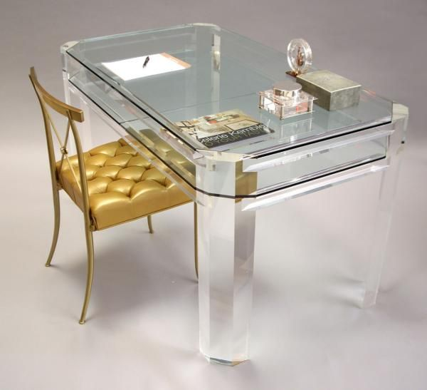 Furniture:Acrylic Lucite Desks For A Clearly Incredible Work Space Vintage Lucite And Glass Desk With Leather Chair And White Room Accent Gives An Elegant Impression Of Work Space