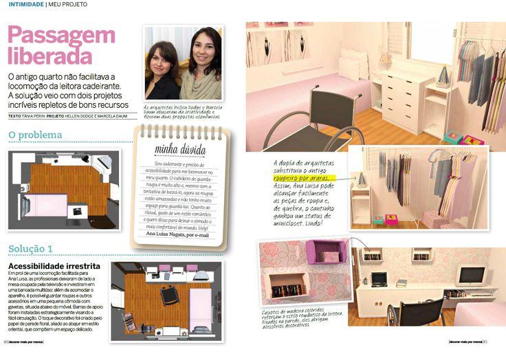 Seção Meu Projeto- Ed. 39 da revista Decorar mais por menos.Quarto para cadeirante.