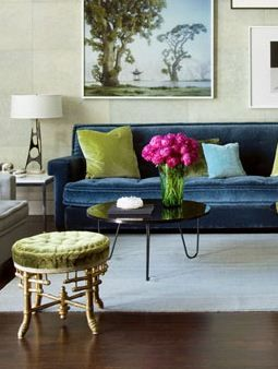 I had to repin this... had a client bring me this exact photo a year ago to recreate the look in her home. The blue velvet sofa turned out stunning!