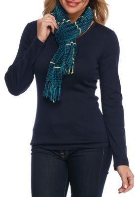 New Directions Peacock Turquoise Kennigston Houndstooth Scarf